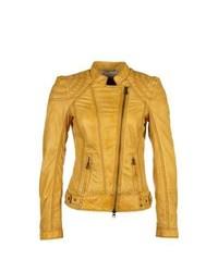 Milestone kiera leather jacket yellow medium 381401