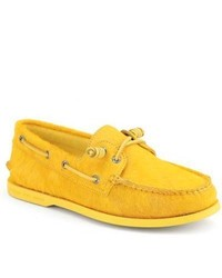 Yellow Leather Boat Shoes for Men | Men's Fashion