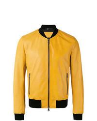 Yellow Leather Bomber Jacket