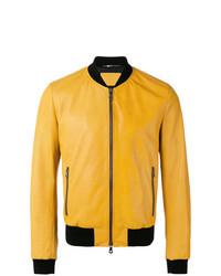 Dolce & Gabbana Leather Bomber Jacket Yellow Orange