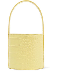 Staud Bissett Mini Croc Effect Leather Bucket Bag