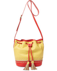 Isabella Fiore Hutton Drawstring Leather Bucket Bag