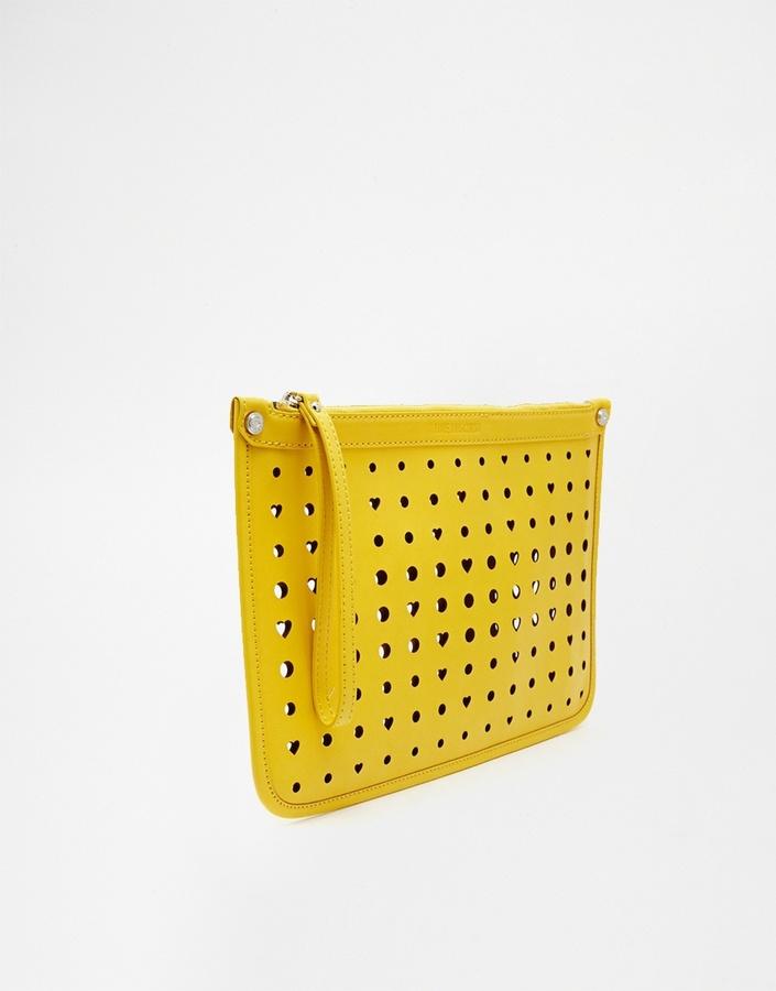 980704ca44b Love Moschino Cut Out Heart Clutch Bag In Yellow, $108 | Asos ...