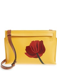 Fiore marquetry calfskin leather crossbody clutch yellow medium 834520