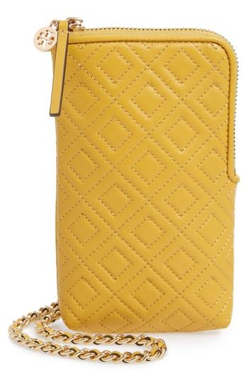 7746faa68af ... Yellow Leather Clutches Tory Burch Fleming Lambskin Leather Phone  Crossbody Bag