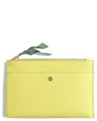 Medium leather zip top pouch yellow medium 4354312