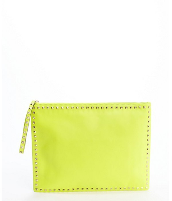 19e21276de ... Valentino Neon Yellow Leather Rockstud Studded Trimmed Large Clutch