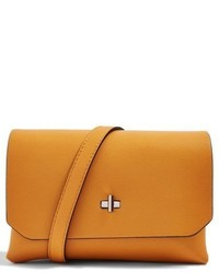 Topshop Otley Faux Leather Crossbody Bag Yellow