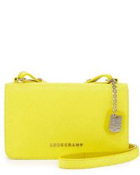 Longchamp Quadri Leather Crossbody Bag Yellow