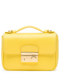 Prada Saffiano Mini Crossbody Clutch Yellow