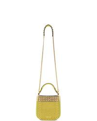 Prada Yellow Small Lizard Studded Magrit Bag
