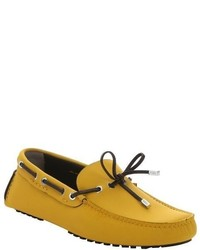 Fendi Neon Blue Leather Moc Toe Tie Detail Driving Loafers