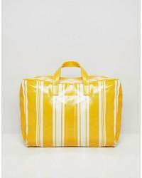 Mango Stripe Plastic Holdall In Yellow Multi Multi