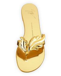 317cdbb9f8e51 ... Giuseppe Zanotti Wings Metallic Flat Thong Sandal Oro