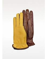 Pineider Two Tone Deerskin Leather Gloves W Cashmere Lining