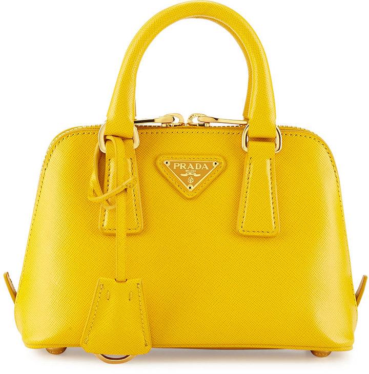 c241dce0de ... Leather Handbags Prada Mini Saffiano Proade Bag Yellow ...
