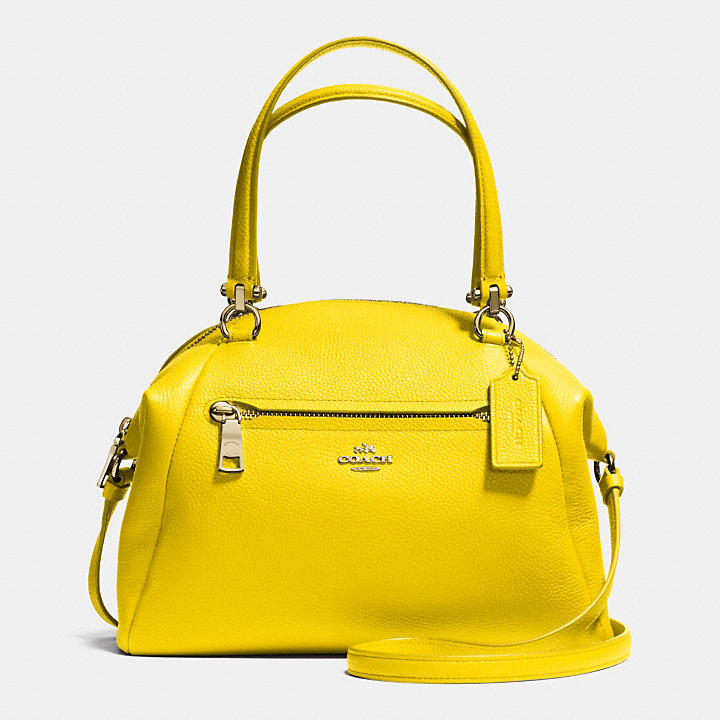 Yellow Leather Handbags Coach Prairie Satchel In Pebble