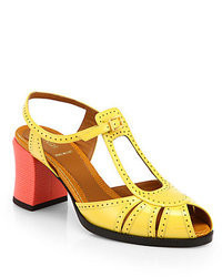 Fendi Bicolor Perforated Patent Leather Sandals