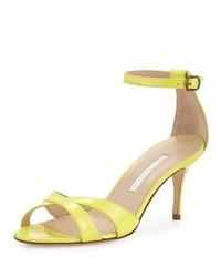 Manolo Blahnik Callre Crisscross Patent 70mm Sandal Yellow