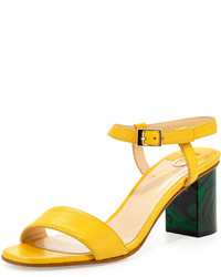 O Jour Napa Leather Chunky Heel Sandal Yellow
