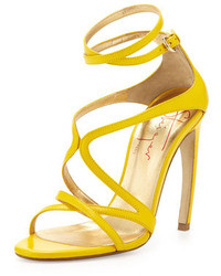 Walter Steiger Strappy Leather Convex Heel Sandal Yellow