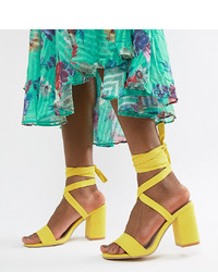 Park Lane Tie Leg Block Heeled Sandals