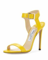 Jimmy Choo Truce Leather Ankle Wrap 100mm Sandal Pop Yellow
