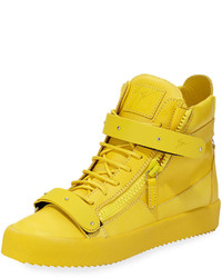 Yellow Leather High Top Sneakers