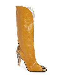 Yellow Leather Knee High Boots