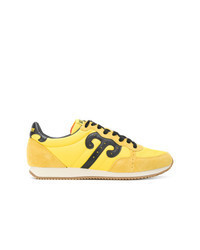 Yellow Leather Low Top Sneakers