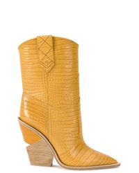 Fendi Crocodile Embossed Ankle Boots