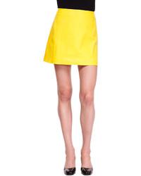 Yellow Leather Mini Skirt