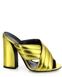 Gucci Webby Metallic Leather Block Heel Mules