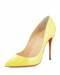 Christian Louboutin Pigalle Follies Patent 100mm Red Sole Pump Yellow