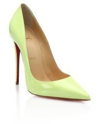 Christian Louboutin Neon Patent Leather Point Toe Pumps