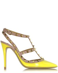 Valentino Rockstud Naples Yellow Leather Slingback Pump