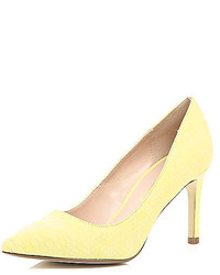 River Island Yellow Snake Print Mid Heel Pumps