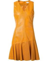 Drome leather flared hem dress medium 383104