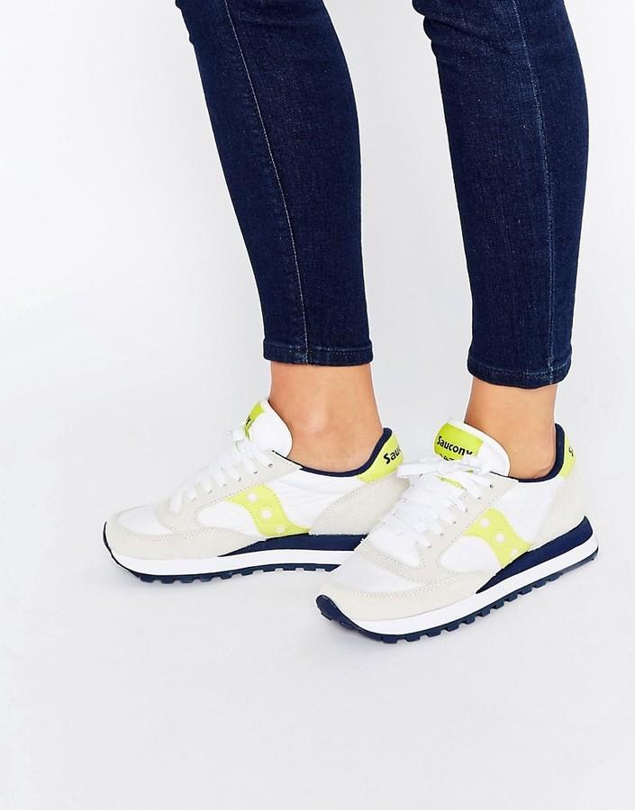 buy online a4797 6ccde $106, Saucony Jazz Original White Yellow Sneakers