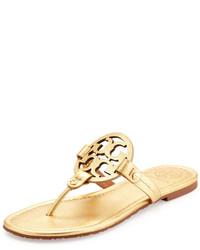 Tory Burch Miller Metallic Logo Thong Sandal Gold