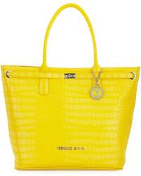 Versace Jeans Large Crocodile Embossed Tote Bag Yellow