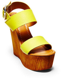 Yellow Leather Wedge Sandals