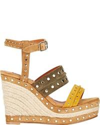 Lanvin Studded Platform Wedge Sandals