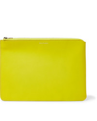 Yellow Leather Zip Pouch