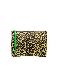 Marni Multicoloured Leopard Print Calf Hair And Leather Clutch