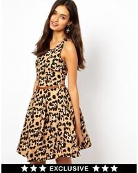Glamorous Belted Skater Dress In Leopard