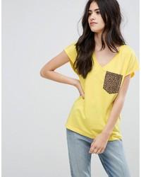 Vila Leopard Pocket T Shirt