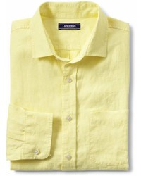 Lands' End Landsend Traditional Fit Long Sleeve Linen Shirt
