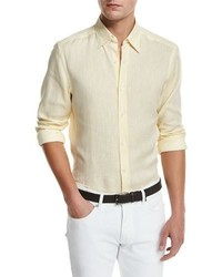 Ermenegildo Zegna Linen Woven Sport Shirt Light Yellow