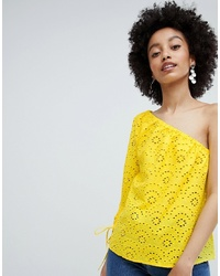 Only Broderie One Shoulder Top